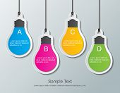 stock photo of green wall  - four paper light bulb signs hanging on the wall - JPG