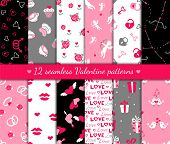 image of bow arrow  - Twelve valentines day seamless patterns - JPG