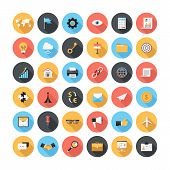 stock photo of graph  - Vector collection of modern simple flat and trendy business and office icons with long shadow - JPG