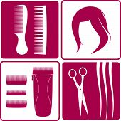 stock photo of barber razor  - set icons for hair salon - JPG
