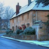 picture of english cottage garden  - Terraced Cotswold stone cottages at Mickleton near Chipping Campden in winter - JPG