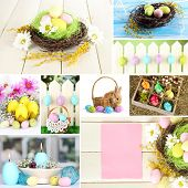 pic of ear candle  - Collage of colorful Easter - JPG