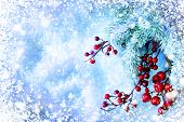 Christmas Tree and Decorations over Snow background. Winter frame