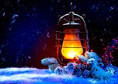 Christmas Lantern with miracle. Magic Stars. Winter Holiday Scene. Beautiful Background with Snow. B