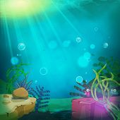 stock photo of aquatic animal  - Illustration of a cartoon funny submarine ocean landscape with aquatic plants cute fishes characters and sea wildlife - JPG