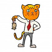 stock photo of dead mouse  - cartoon business cat with dead mouse - JPG