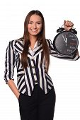 picture of tick tock  - Smile girl business manager with alarm clock - JPG