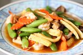 stock photo of sauteed  - The Sauteed vegetables with shrimp in dish - JPG