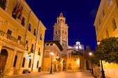 picture of nightfall  - Aragon Teruel Cathedral Santa Maria unesco and City town hall at Spain - JPG