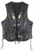 picture of camisole  - Vintage Leather biker jacket vest custom made open isolated on white - JPG