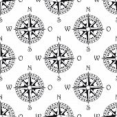 image of north star  - Seamless pattern of a vintage magnetic navigational compass marked with north south - JPG