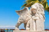 picture of larnaca  - Winged Lion statue at Foinikoudes promenade - JPG