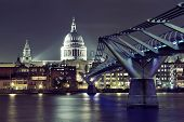 image of london night  - Millennium Bridge and St Pauls Cathedral at night in London - JPG