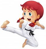 stock photo of karate-do  - Illustration of an energetic little girl doing karate on a white background - JPG