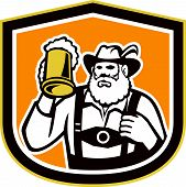 picture of lederhosen  - Illustration of a Bavarian beer drinker raising beer mug drinking looking up wearing lederhosen and German hat set inside shield crest shape done in retro style - JPG