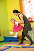 stock photo of montessori school  - Mother and child girl playing in Montessori kindergarten - JPG