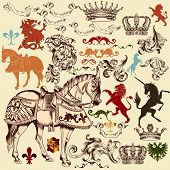 pic of winged-horse  - Vector set of luxury royal vintage elements for your heraldic design - JPG