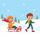 foto of sled  - Illustration of a boy and girl sledding in winter - JPG