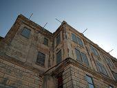stock photo of alcatraz  - Looking upward at old Prison building on Alcatraz Island California - JPG