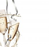 foto of champagne glasses  - Two glasses of champagne with splash - JPG