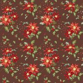 stock photo of poinsettia  - Retro Christmas Seamless Background  - JPG