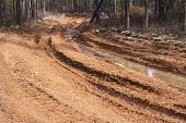 picture of loam  - Dirt road with mud and big puddles - JPG