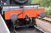 foto of loco  - The Front of a Vintage Railway Steam Train Engine - JPG