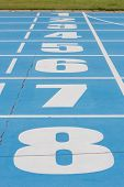 picture of track field  - Number on running track , race track ** Note: Shallow depth of field - JPG