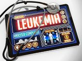 stock photo of leukemia  - Medical Tablet with the Diagnosis of Leukemia on the Display and a Black Stethoscope on White Background - JPG