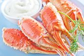 pic of cooked blue crab  - crab claws with sauce on the plate - JPG