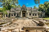 picture of reign  - Preah Khan was built in 1191 during the reign of King Jayavarman VII. The central Buddhist temple included an image of the Boddhisattva Lokeshrvara, carved to resemble the King
