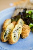 stock photo of oyster shell  - Deep fried breadcrumbed fresh sea oyster Japanese style