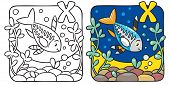 Постер, плакат: X ray fish coloring book Alphabet X