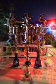 image of hookah  - The hookahs in the asian outdoor cafe at night - JPG
