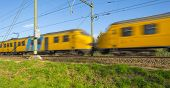 pic of high-speed train  - Passenger train moving at high speed in autumn - JPG