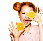 picture of orange  - Beauty Model Girl with Juicy Oranges - JPG
