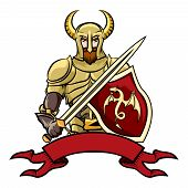 picture of valiant  - Vector cartoon knight with a horned helmet shield with a dragon  sword and a blank vintage ribbon banner below  vector illustration on white - JPG