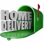 foto of ship  - Home Delivery 3d words in green metal mailbox to illustrate special shipping service of orders delivered straight to your house or residence - JPG
