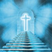 image of stairway to heaven  - Glowing holy cross and staircase leading to heaven or hell - JPG