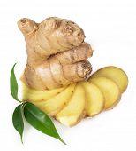 image of rhizomes  - Fresh ginger isolated on white background - JPG