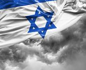 image of israeli flag  - Israeli waving flag on a bad day - JPG