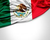 picture of mexican  - Mexican waving flag on white background - JPG