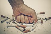 picture of tobacco smoke  - male hand destroying cigarettes  - JPG