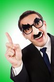 stock photo of moustache  - Funny businessman with eyebrows and moustache - JPG