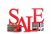 stock photo of year end sale  - Sale with gifts isolated on white - JPG