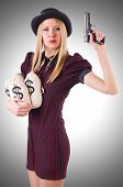 pic of gangster  - Woman gangster with gun and money - JPG