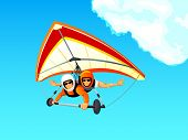foto of hang-gliding  - Cheerful hang gliding tandem flying in sky - JPG