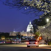 stock photo of capitol building  - Washington DC - US Capitol Building in a spring night  - JPG