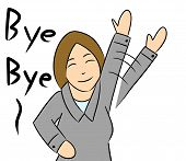 picture of say goodbye  - illustration cartoon woman waving hand saying goodbye - JPG