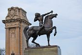 picture of gatekeeper  - The Bowman also known as Indians is two bronze equestrian sculpture standing as gatekeepers at the intersection of Congress Drive and Michigan Avenue in Grant Park Chicago - JPG